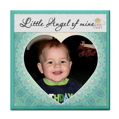 little Angel  Boy Coaster By Lil    Tile Coaster   Sfx08h1ch8oz   Www Artscow Com Front