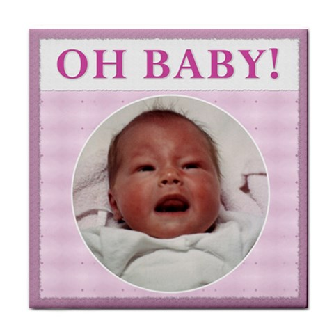 oh Baby!  Girl Coaster By Lil    Tile Coaster   Hwu45bht9r6g   Www Artscow Com Front