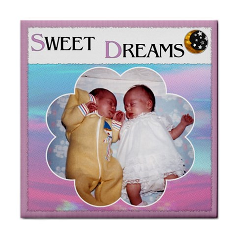 sweet Dreams  Girl Coaster By Lil    Tile Coaster   2ve6d9lj3pws   Www Artscow Com Front