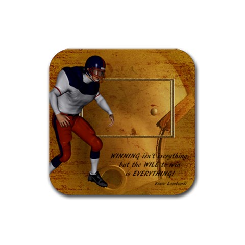 Football Coaster8 By Snackpackgu   Rubber Square Coaster (4 Pack)   Lysux7q6dibq   Www Artscow Com Front