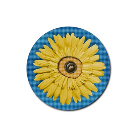 Coaster Gingham & Daisy By Mikki   Rubber Coaster (round)   90hfzzioq8we   Www Artscow Com Front