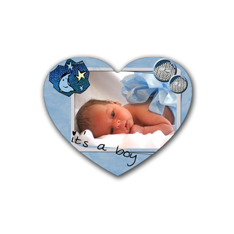 Baby Boy   Rubber Heart Coaster By Carmensita   Rubber Coaster (heart)   Qdhi48opvoh1   Www Artscow Com Front