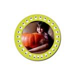 Halloween yellow - Rubber square coaster - Rubber Coaster (Round)