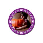Halloween violet - Rubber square coaster - Rubber Coaster (Round)