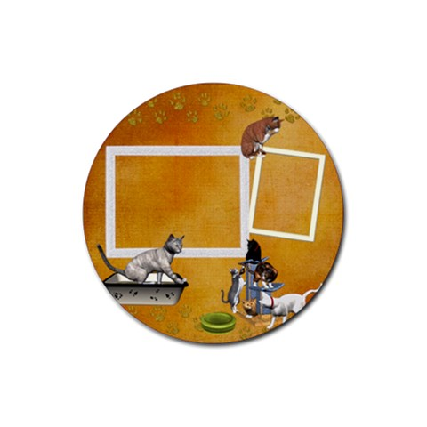 Kitties 1 By Snackpackgu   Rubber Coaster (round)   Gklxy1earqbh   Www Artscow Com Front