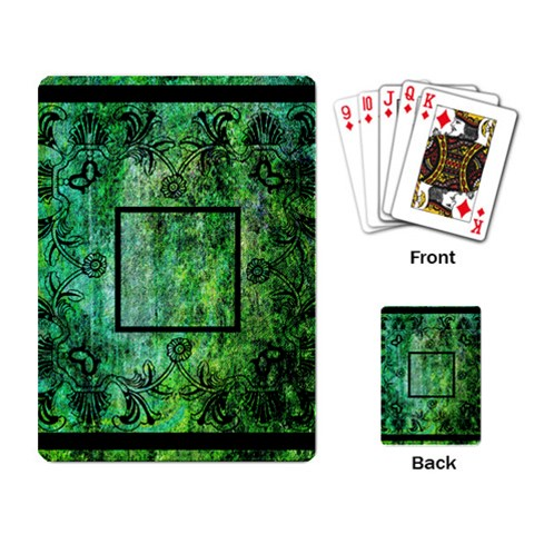 Art Nouveau Green Playing Cards By Catvinnat   Playing Cards Single Design   Scjqea8f95ra   Www Artscow Com Back