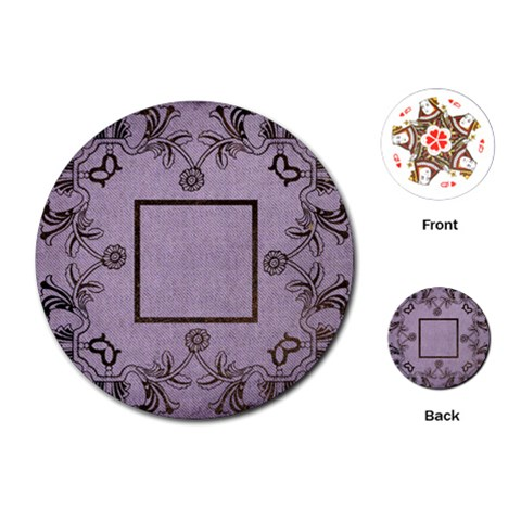 Art Nouveau Purple Round Playing Cards By Catvinnat   Playing Cards (round)   W1mggugfx2zm   Www Artscow Com Front