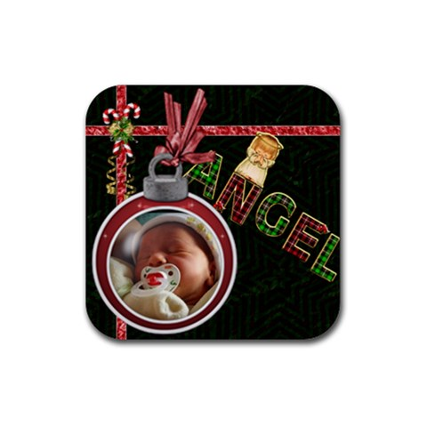Angel  Christmas Coaster By Lil    Rubber Coaster (square)   Dub08wzz7de5   Www Artscow Com Front