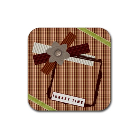 Turkey Time Thanksgiving Coaster By Danielle Christiansen   Rubber Coaster (square)   Dnxi1yjarwlv   Www Artscow Com Front