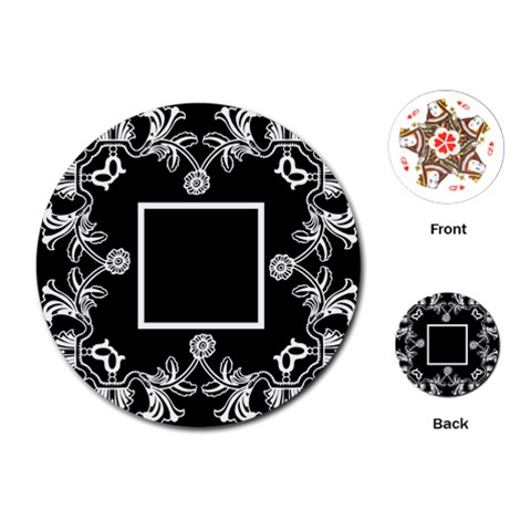 Art Nouveau Black & Offwhite Round Playing Cards By Catvinnat   Playing Cards (round)   Rkzergrkm9n8   Www Artscow Com Front