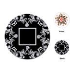 art nouveau black & offwhite round playing cards - Playing Cards (Round)