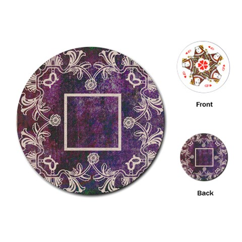 Art Nouveau Purple Lace Round Playing Cards By Catvinnat   Playing Cards (round)   Blx6x03y5yl8   Www Artscow Com Front
