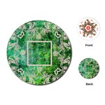 art nouveau green lace round playing cards - Playing Cards (Round)