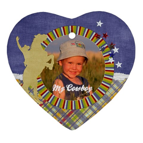 Heart Ornament  My Cowboy By Mikki   Ornament (heart)   5o9a623a1gup   Www Artscow Com Front