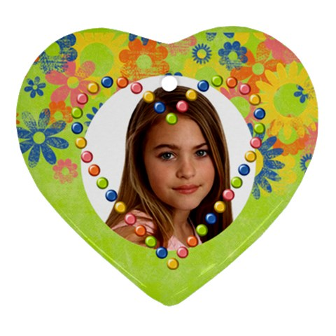 Heart Ornament Flowers & Heart By Mikki   Ornament (heart)   Ae56zwhmj6ve   Www Artscow Com Front
