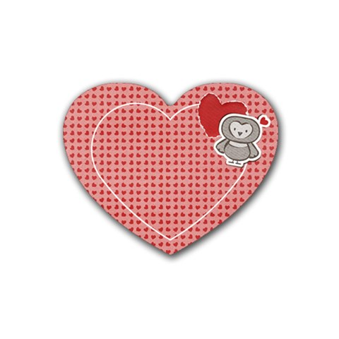 Heart Coaster Owl & Hearts By Mikki   Rubber Coaster (heart)   Cdwoprichoi3   Www Artscow Com Front