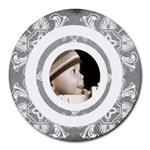 Art nouveau grey lace 2 mousemat - Round Mousepad
