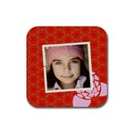 Red flowers coaster - Rubber Coaster (Square)