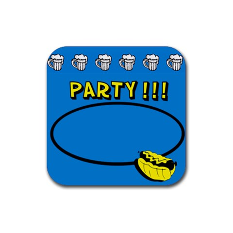 Party Blue   Rubber Square Coaster By Carmensita   Rubber Coaster (square)   H4htiuepgy92   Www Artscow Com Front