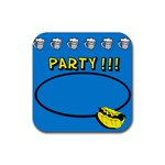 Party blue - Rubber square coaster - Rubber Coaster (Square)