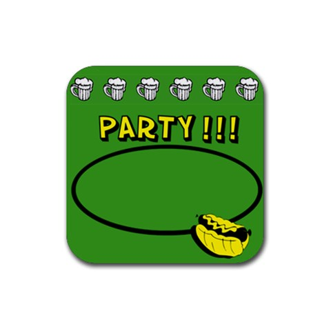Party Green   Rubber Square Coaster By Carmensita   Rubber Coaster (square)   7l3s2o5xfc23   Www Artscow Com Front