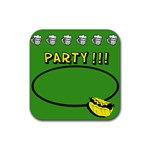 Party green - Rubber square coaster - Rubber Coaster (Square)