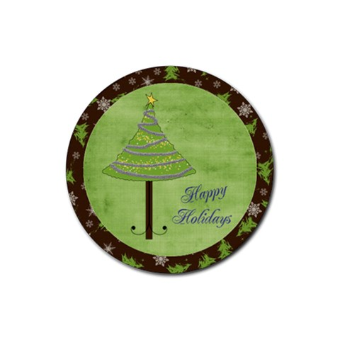 Holiday Rush Round Coaster By Bitsoscrap   Rubber Round Coaster (4 Pack)   2ul7w5e0y4gj   Www Artscow Com Front