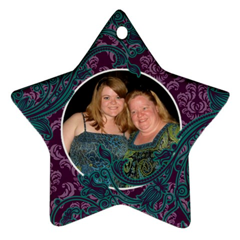Purple & Blue Damask Ornament By Klh   Ornament (star)   M138ozge4xsr   Www Artscow Com Front