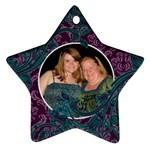 Purple & Blue Damask Ornament - Ornament (Star)