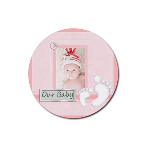 Baby Pink By Joely   Rubber Round Coaster (4 Pack)   41q9qt3jf4l3   Www Artscow Com Front