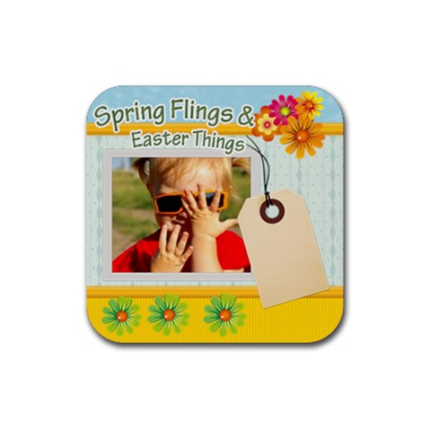 Spring Flings By Joely   Rubber Coaster (square)   T8yu72tmib7o   Www Artscow Com Front