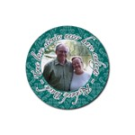 Turquoise Damask Love Quote Coaster - Rubber Coaster (Round)