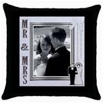 Mr & Mrs Pillow - Throw Pillow Case (Black)