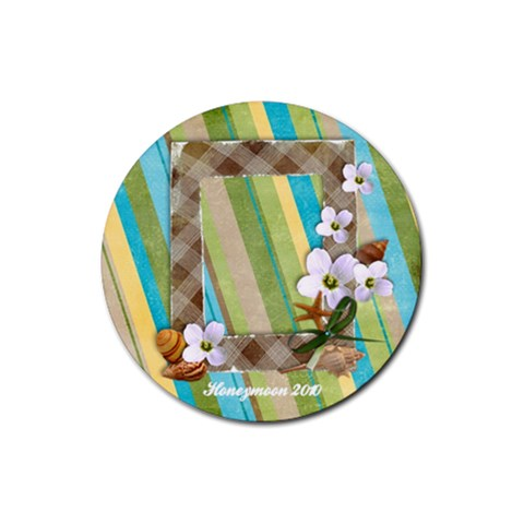 Round Coaster  Tropical, Vacation, Beach By Mikki   Rubber Coaster (round)   Yce18kxf0rj6   Www Artscow Com Front