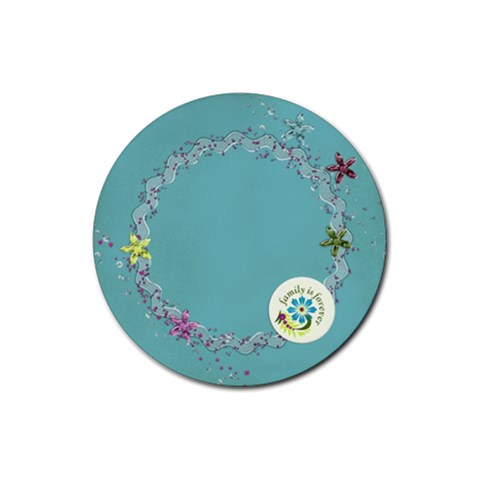 Round Coaster Flowers & Glitter, Family By Mikki   Rubber Coaster (round)   9g1g08tugqqa   Www Artscow Com Front