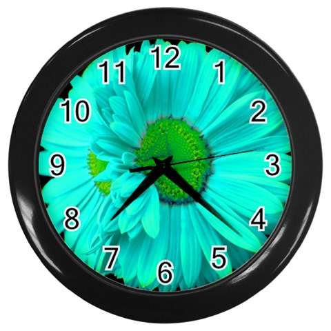 Teal Painted Daisy Wall Clock By Mary   Wall Clock (black)   L60getg9mblb   Www Artscow Com Front