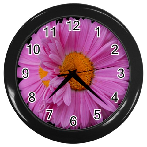 Pink Painted Daisy Wall Clock By Mary   Wall Clock (black)   5oaid7typno9   Www Artscow Com Front