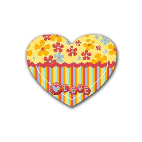 Heart Coaster  Flowers & Love By Mikki   Rubber Coaster (heart)   Gxj2rwktot8w   Www Artscow Com Front