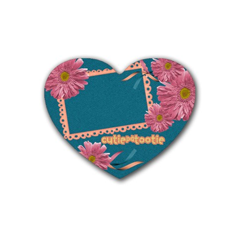 Heart Coaster Cutiepatootie By Mikki   Rubber Coaster (heart)   C7a3m8pqe2wf   Www Artscow Com Front