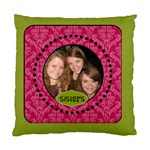 Pink & Green Damask Cushion - Standard Cushion Case (Two Sides)