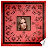 Red Art Nouveau portrait 12 x 12 canvas - Canvas 12  x 12