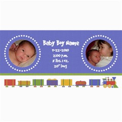 Baby Boy Train Birth Announcement By Klh   4  X 8  Photo Cards   Vfvrdw062ucf   Www Artscow Com 8 x4 Photo Card - 1