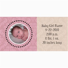 Baby Girl Pink Announcement By Klh   4  X 8  Photo Cards   Nhrsghn1oj8s   Www Artscow Com 8 x4 Photo Card - 9