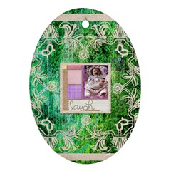 Art Nouveau Green Lace Oval Ornament By Catvinnat   Oval Ornament (two Sides)   Iqz4zf6kub9c   Www Artscow Com Back
