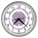 art nouveau lavendar circle  silver clock - Wall Clock (Silver)