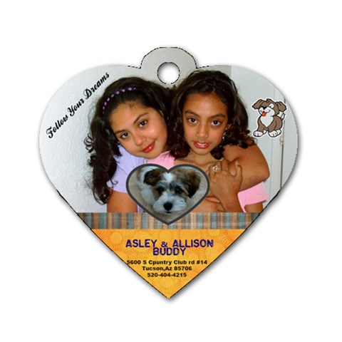 Cuddle Time Pet Tag Dog By Martha   Dog Tag Heart (one Side)   Xc72gzodnll7   Www Artscow Com Front