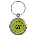 Green & Black Monogram Keychain - Key Chain (Round)