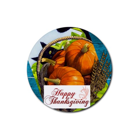 Thanksgiving Coaster By Sheri Ellis   Rubber Round Coaster (4 Pack)   4bgjdvakxvih   Www Artscow Com Front