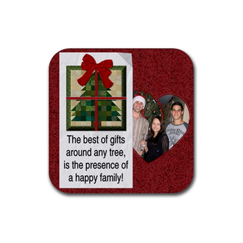 Happy Family Christmas Coaster By Lil    Rubber Coaster (square)   Cqg3qxz6kk2n   Www Artscow Com Front