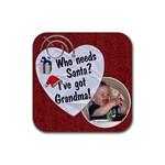 Grandma Christmas Coaster - Rubber Coaster (Square)